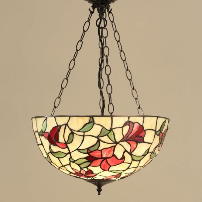 Interiors 1900 RED LILIES traditional Tiffany inverted ceiling pendant