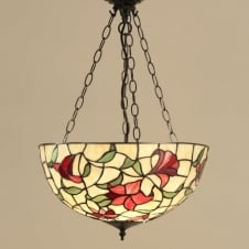 RED LILIES traditional Tiffany inverted ceiling pendant