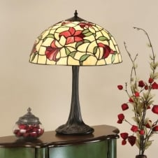 RED LILIES traditional Tiffany table lamp