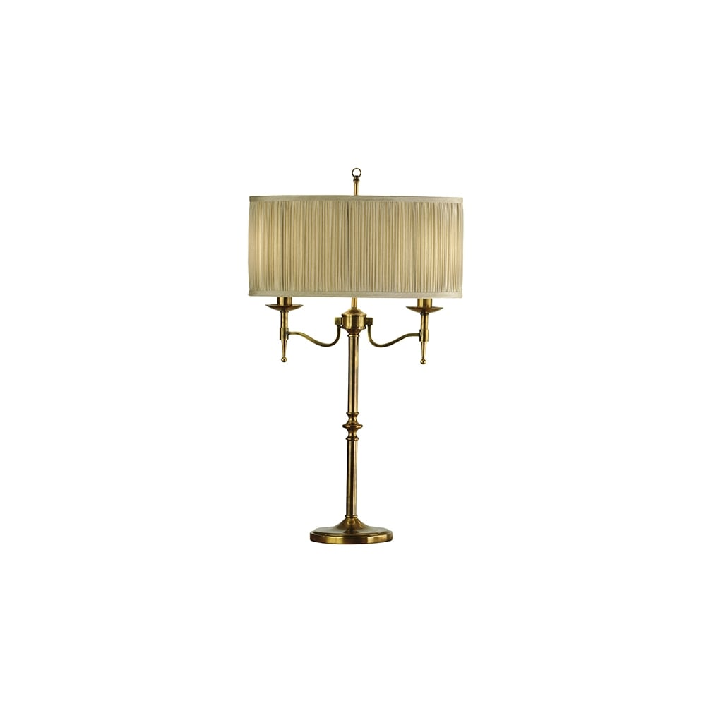 Traditional antique brass 2 light table lamp with beige shade antique brass traditional table lamp with beige shade aloadofball Gallery