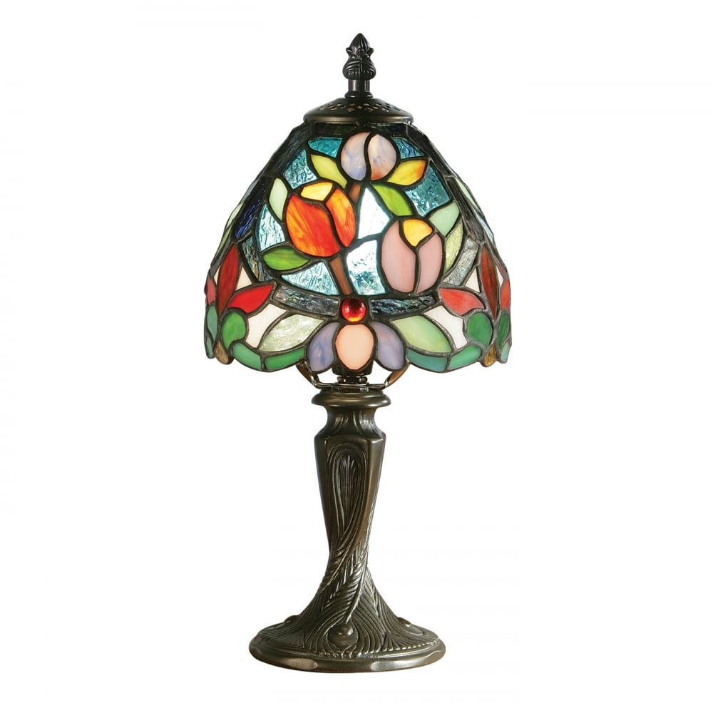 Lelani small tiffany table lamp floral art glass shade aged sylvete small tiffany table lamp floral pattern mozeypictures Images