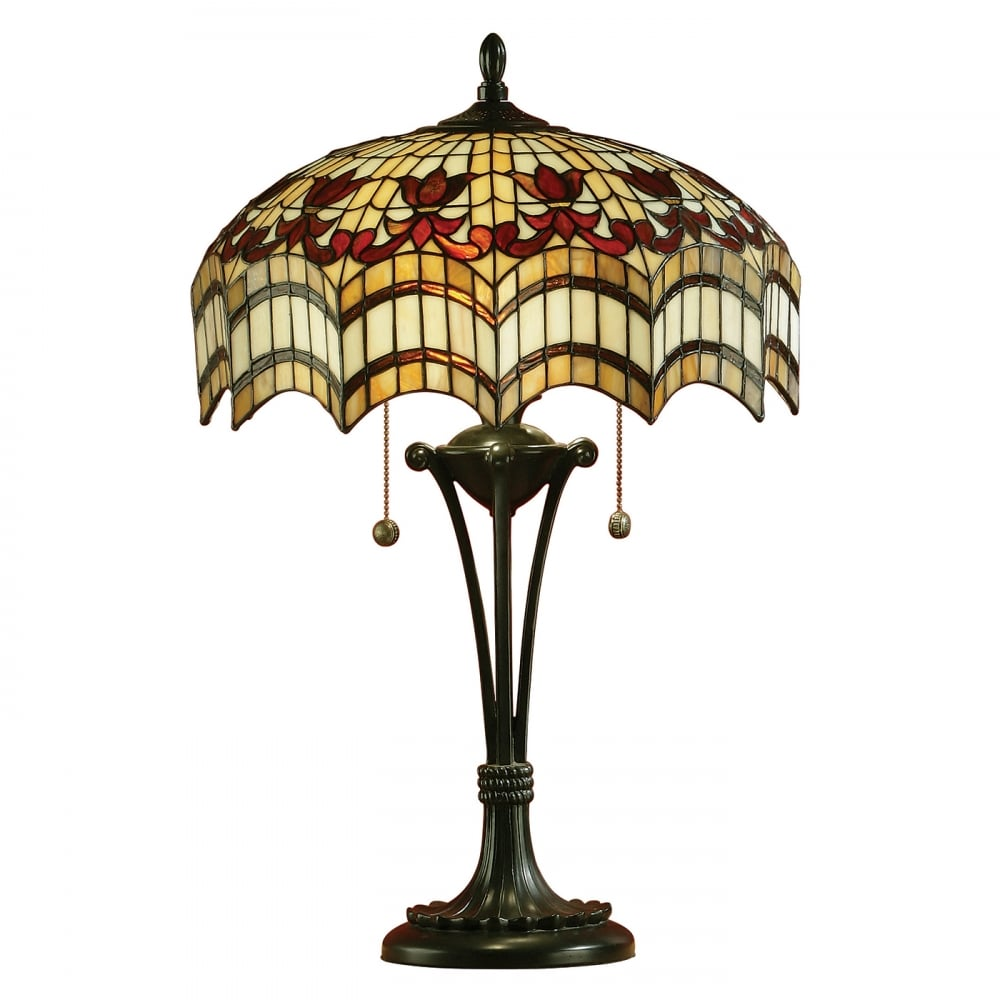 Buy stained glass tiffany table lamps from interiors 1900 for Vesta tiffany floor lamp