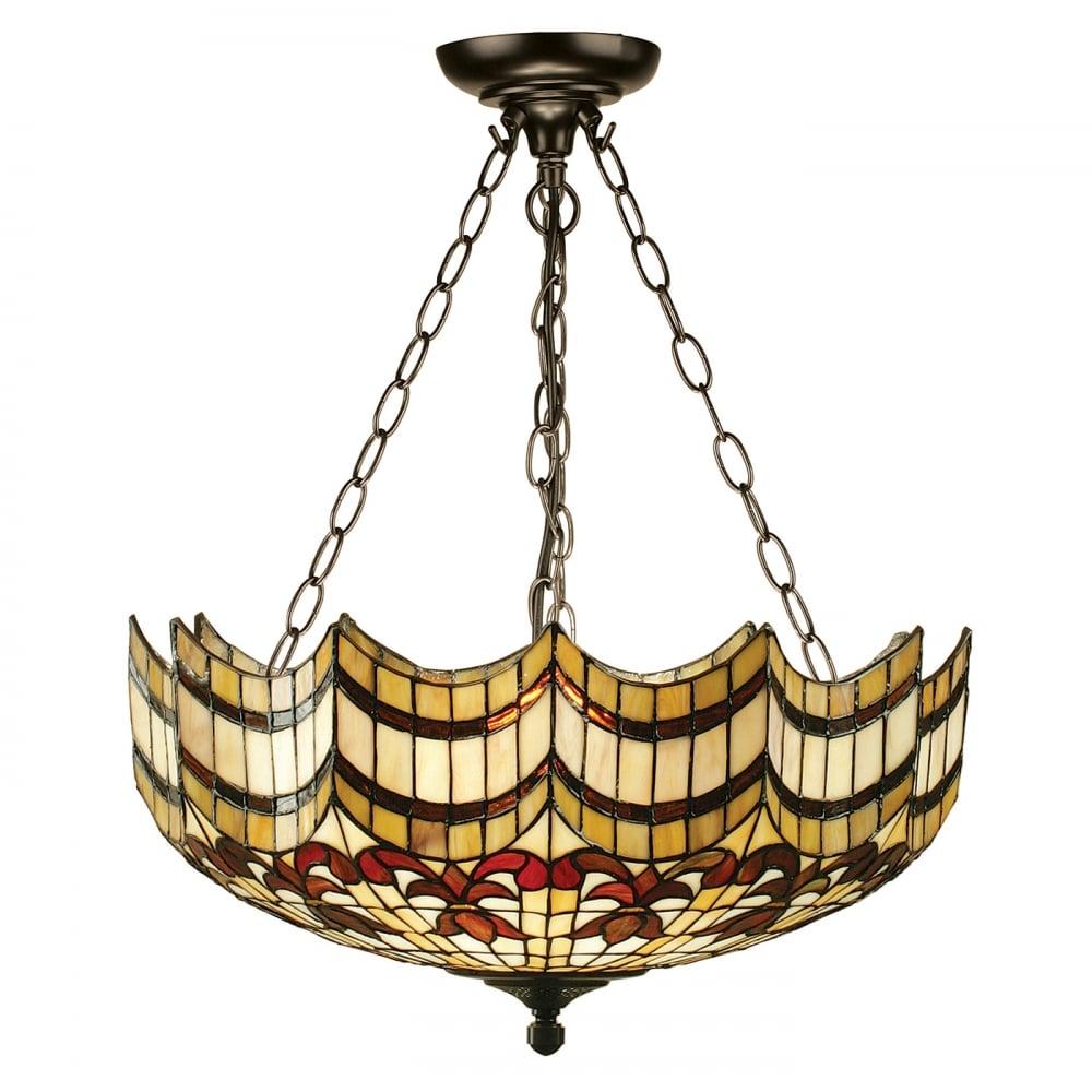Vesta large tiffany uplighter ceiling light on chains for Vesta tiffany floor lamp