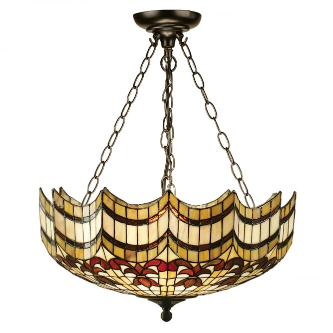 Interiors 1900 VESTA large Tiffany uplighter ceiling light on chains