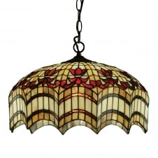 VESTA Tiffany ceiling pendant light for high ceilings
