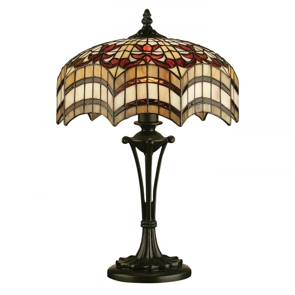 Antique Tiffany Chandeliers 1900: Colourful Tiffany Stained Glass Table Lamp On Antique Base