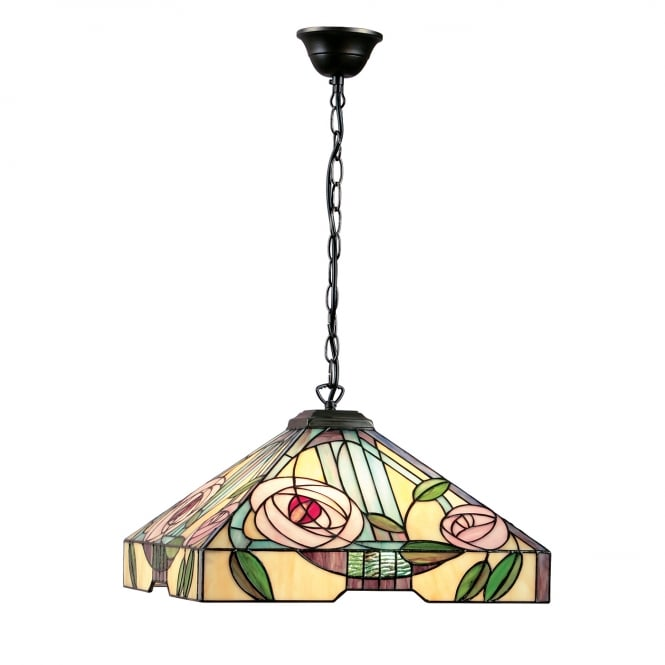 Interiors 1900 WILLOW large Art Nouveau style Tiffany ceiling pendant light