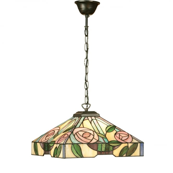 Interiors 1900 WILLOW medium Tiffany ceiling pendant light, Art Nouveau style