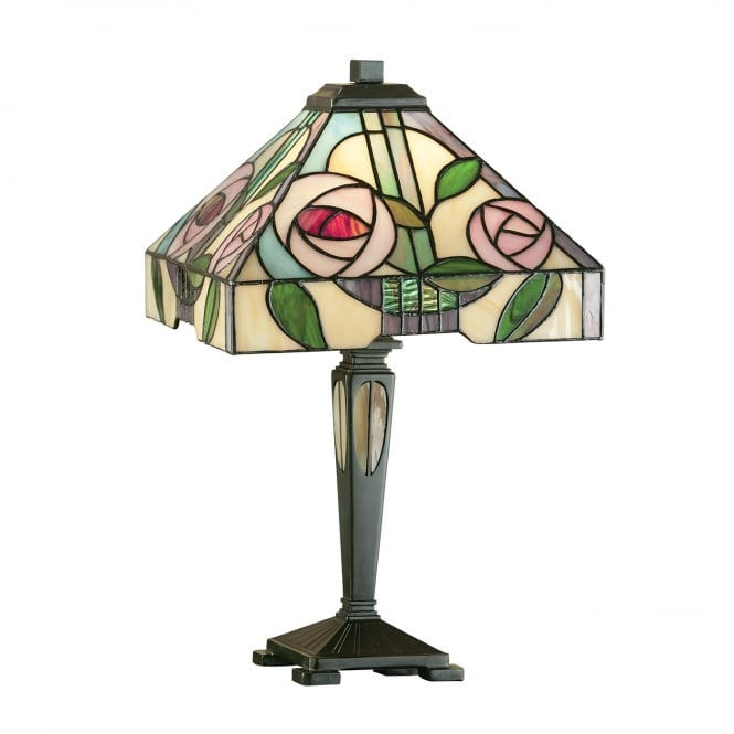 WILLOW small Tiffany table lamp, Art Nouveau rose design