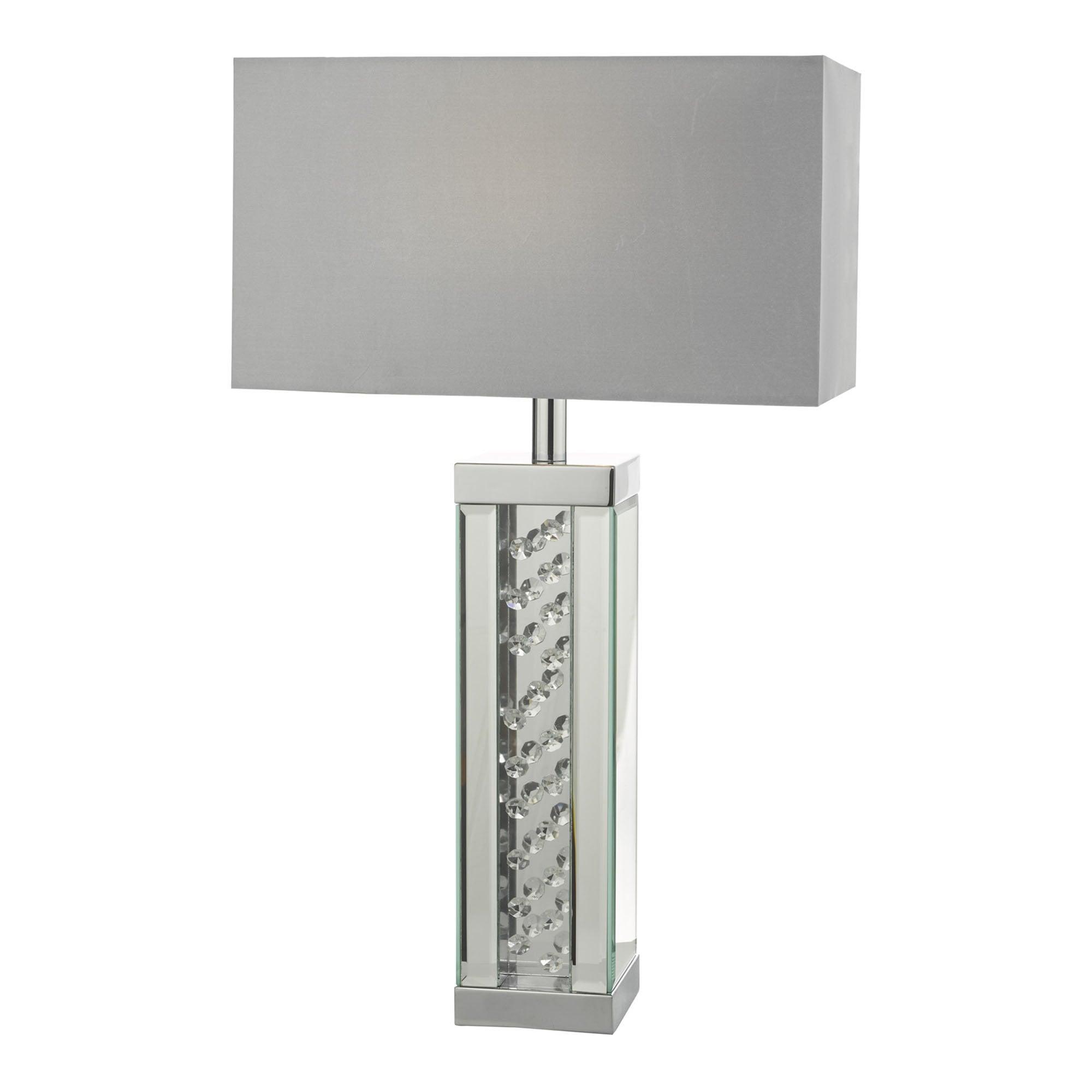 IRALIA Rectangular Table Lamp Crystal & Polished Chrome With Grey Shade