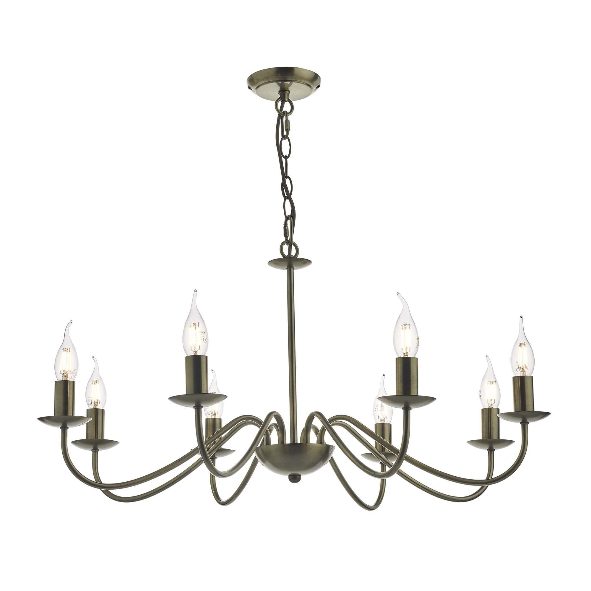 Traditional Dual Mount Antique Brass 8 Light Chandelier