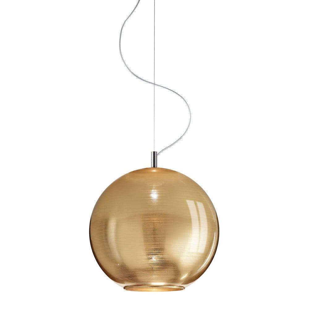 Gold Globe Shaped Italian Glass Ceiling Pendant Light
