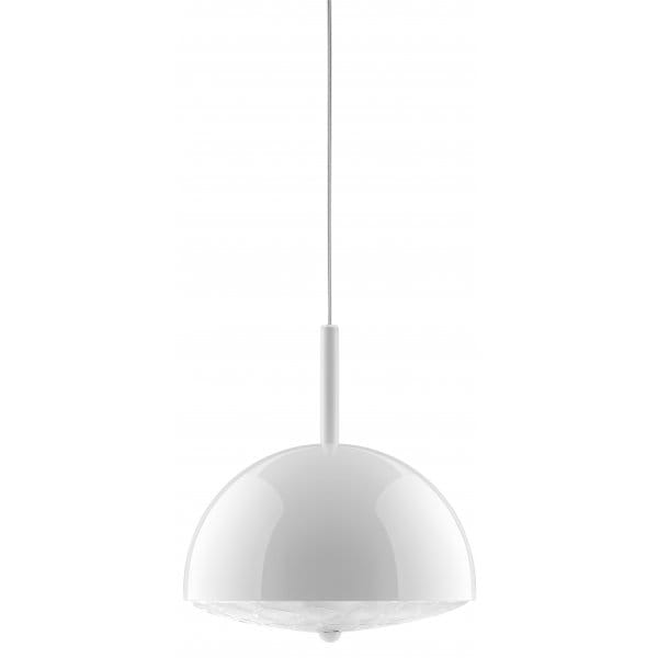 lola small white metal ceiling pendant with italian glass