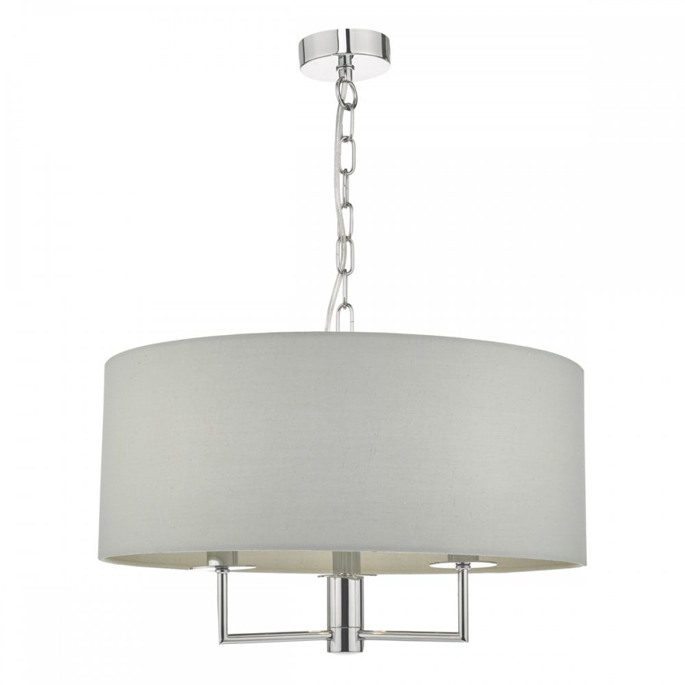 Jamelia 3 light ceiling pendant with grey drum shade