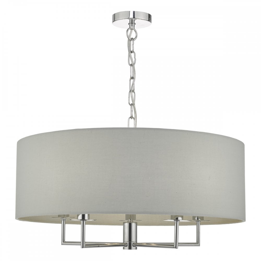 Modern Contemporary White Drum Shade & Crystal Plug in Chandelier Lighting