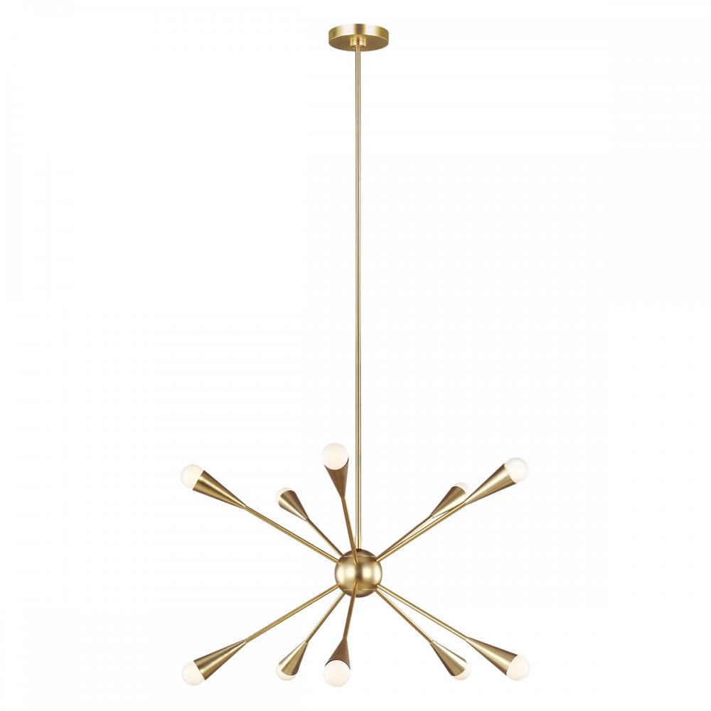 10 Light Chandelier with Antique Brass Finish
