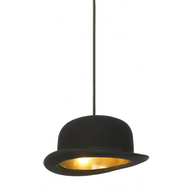 JEEVES black felt bowler hat ceiling pendant with anodised gold interior