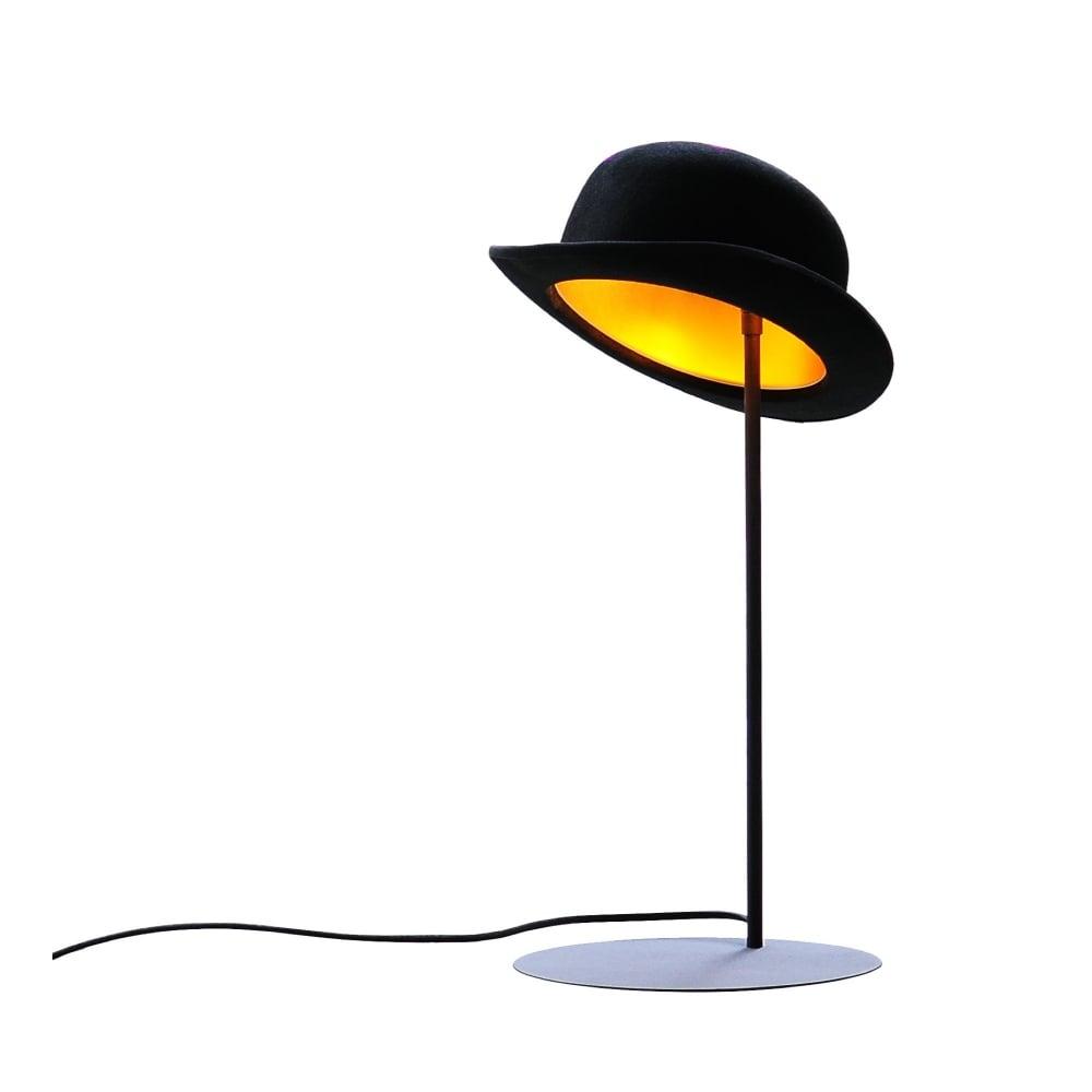 Black wool bowler hat table lamp lighting company black wool bowler hat lamp with gold inner aloadofball Choice Image