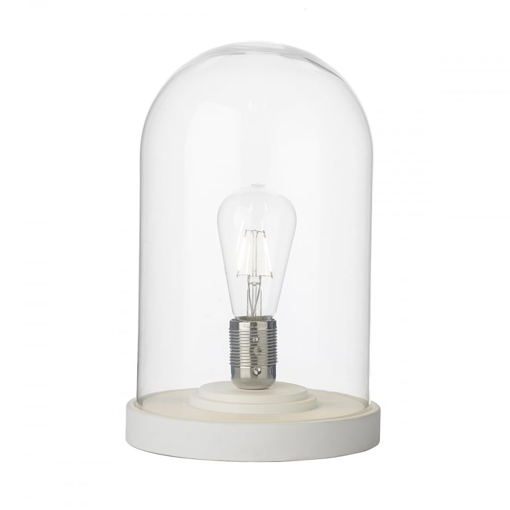 Cloche table lamp in arctic white with clear glass dome shade arctic white and clear glass dome table lamp aloadofball Choice Image