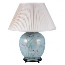 FISH Dist Gold/Light Blue on Large Round with Silk Knife Pleat Balloon Lined Almond Shade 50cm