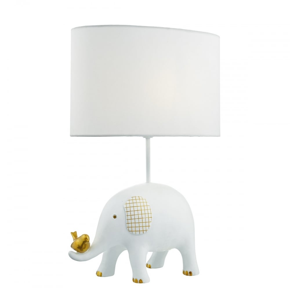 JERAKEEN White Elephant Table Lamp With Gold Detail And White Shade
