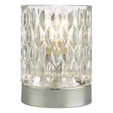 modern chrome and textured glass touch lamp