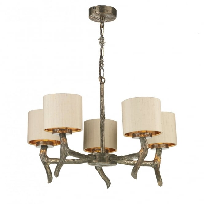 Rustic 5 light bronze ceiling light with wood effect and taupe shades joshua decorative bronze wood effect ceiling light with shades 5 light aloadofball Images