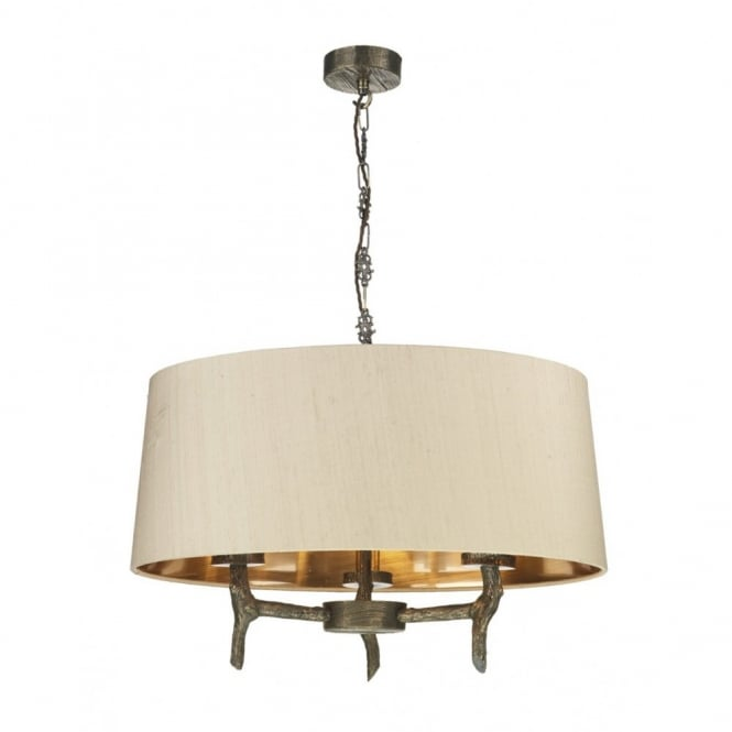 JOSHUA rustic bronze 3 light ceiling pendant with taupe shade