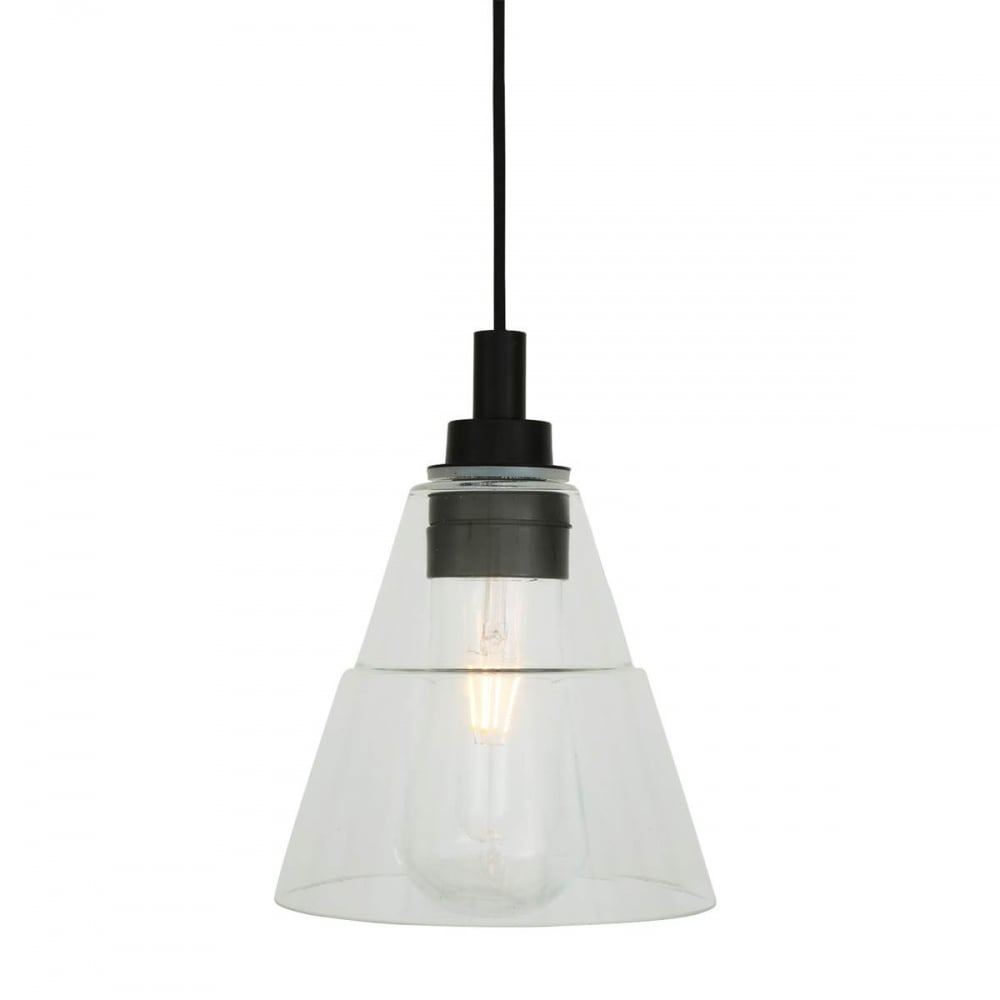 Bathroom ceiling pendant in mate black with glass shade