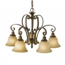 KELHAM HALL bronze gold chandelier, traditional with 5 lights