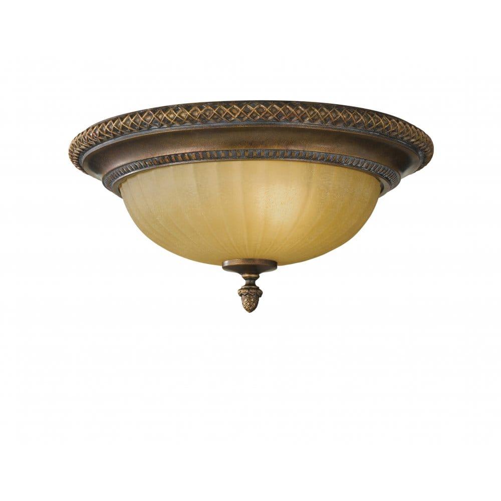 Kelham Hall Flush Mounted Ceiling Light Fitting Antique Bronze Gold