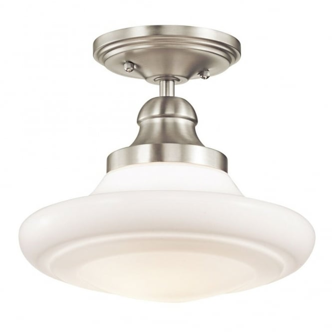 KELLER vintage style schoolhouse pendant in brushed nickel with opal glass (dual mountable)