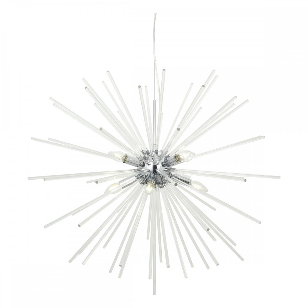 Keyla 8 light starburst ceiling pendant in chrome and crystal
