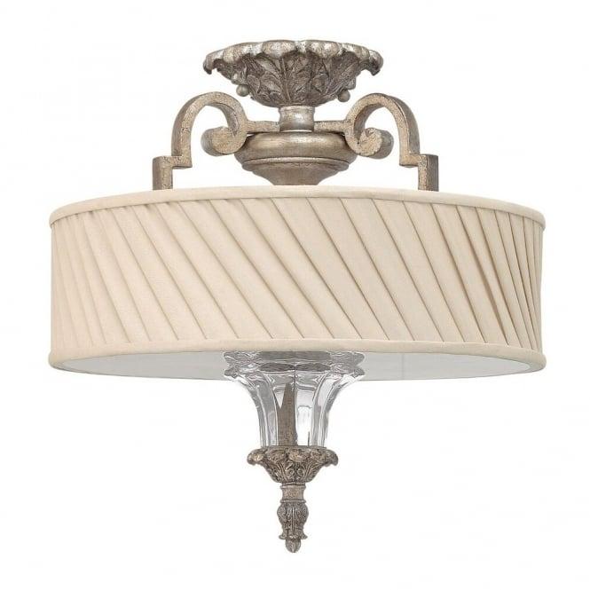 semi flush mount lighting. Classic Decorative Semi Flush Ceiling Light In Silver Leaf Finish With Ivory Pleat Shade Mount Lighting
