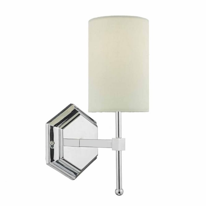 KLEMENS polished chrome wall light with cream shade