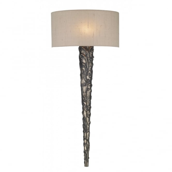 Medieval torch style bronze wall light taupe silk shade knurl medieval bronze wall sconce aloadofball Images