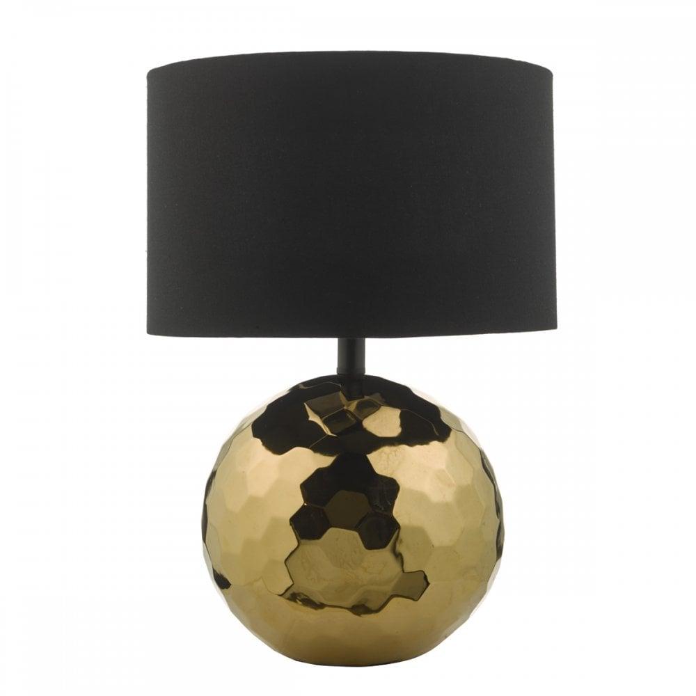 Kolton Textured Gold Ceramic Globe Table Lamp With Shade