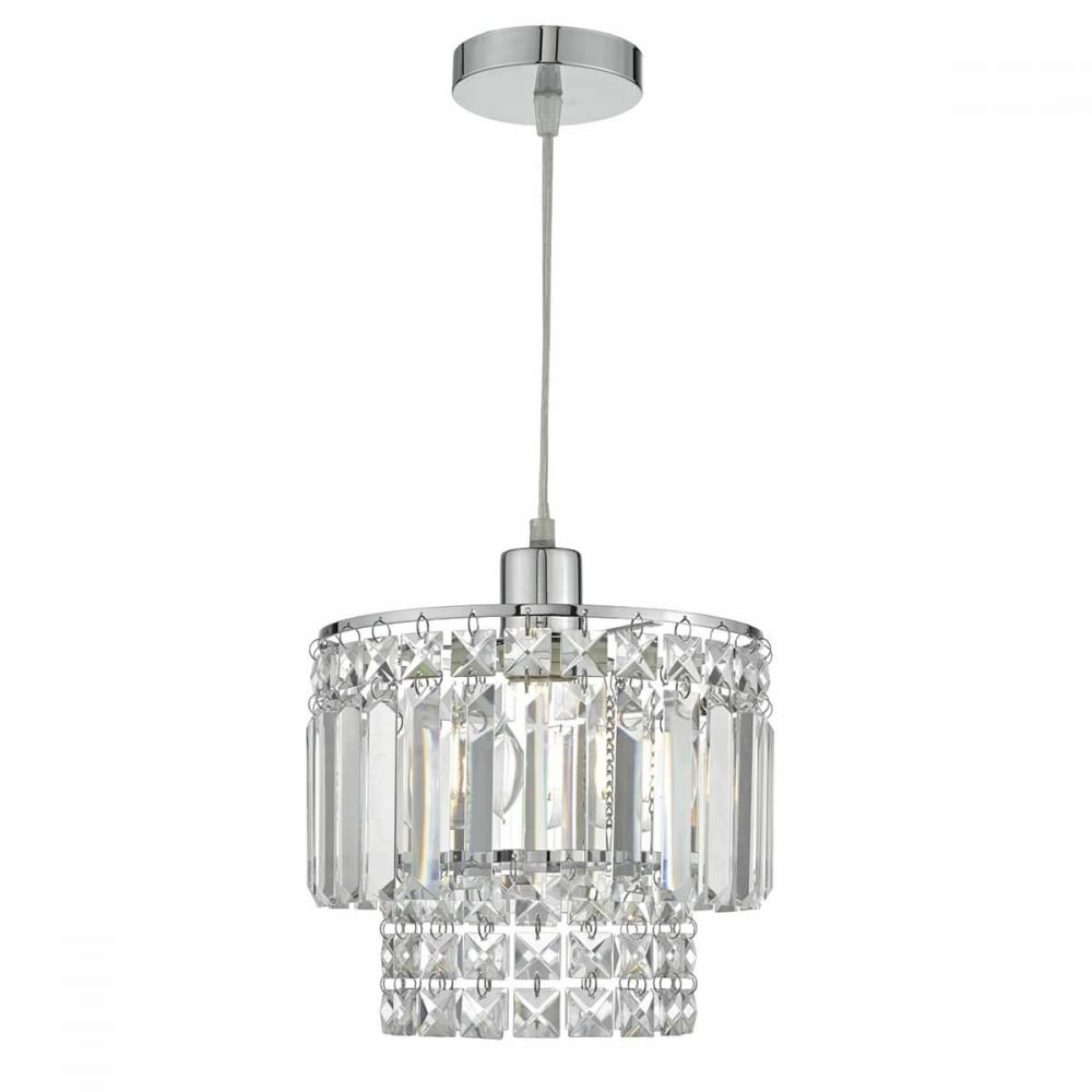 Kyla chrome and crystal glass easy fit pendant shade ceiling kyla chrome and crystal glass easy fit pendant shade mozeypictures Gallery