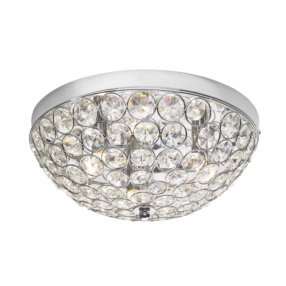 Modern Chrome and Crystal Flush Fit Ceiling Light - Great for Bedrooms