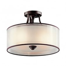 LACEY modern semi flush ceiling light in bronze with mesh screen and opal inner glass shade