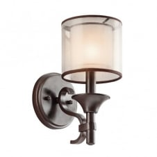 bronze wall light with mesh shade and opal inner glass