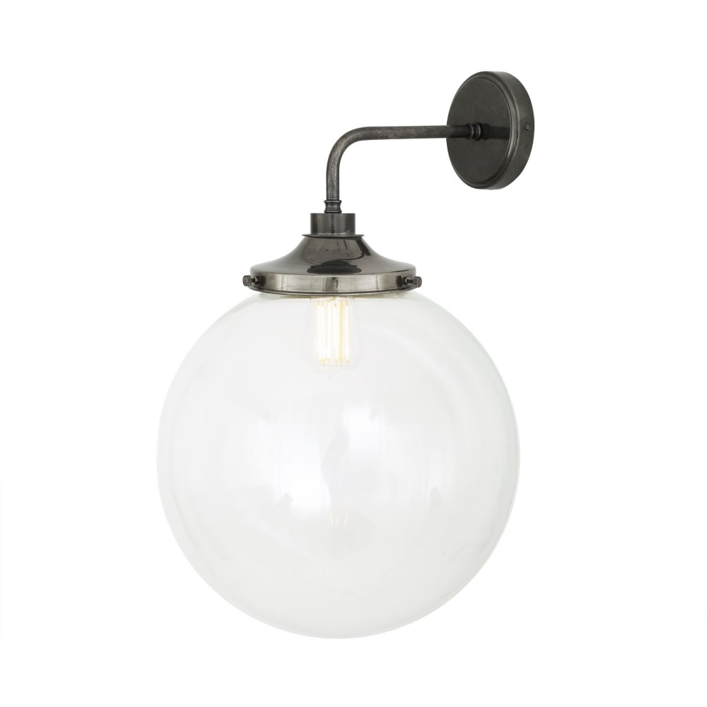 Fantastic Laguna Bathroom Wall Light In Antique Silver With Clear Glass Globe Home Interior And Landscaping Fragforummapetitesourisinfo