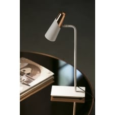 white and copper LED desk lamp