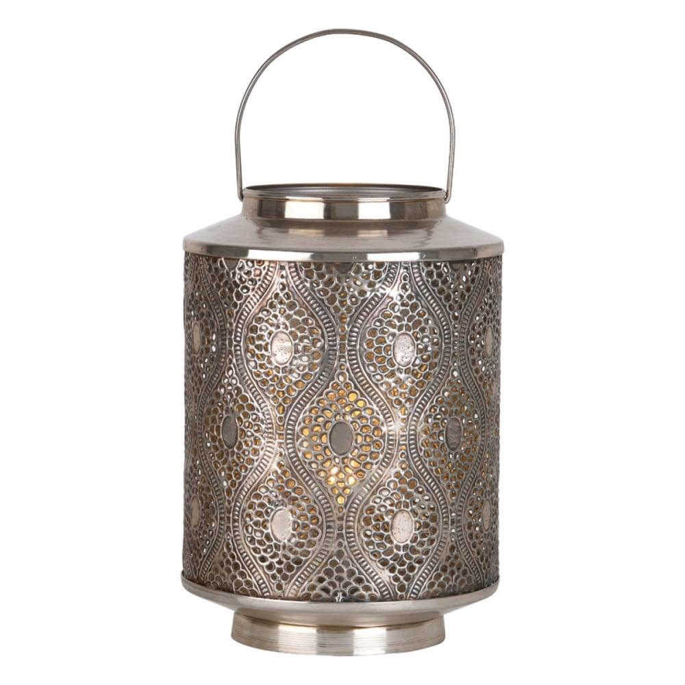 Lars Antique Silver Fretwork Metal Table Lamp