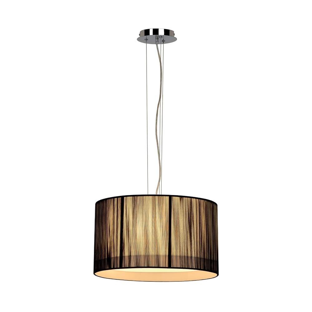 Lasson Black Drum Shade Ceiling Pendant Light