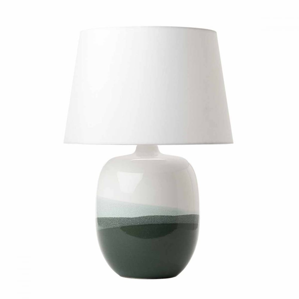 Contemporary Ceramic Table Lamp Base In Green And White