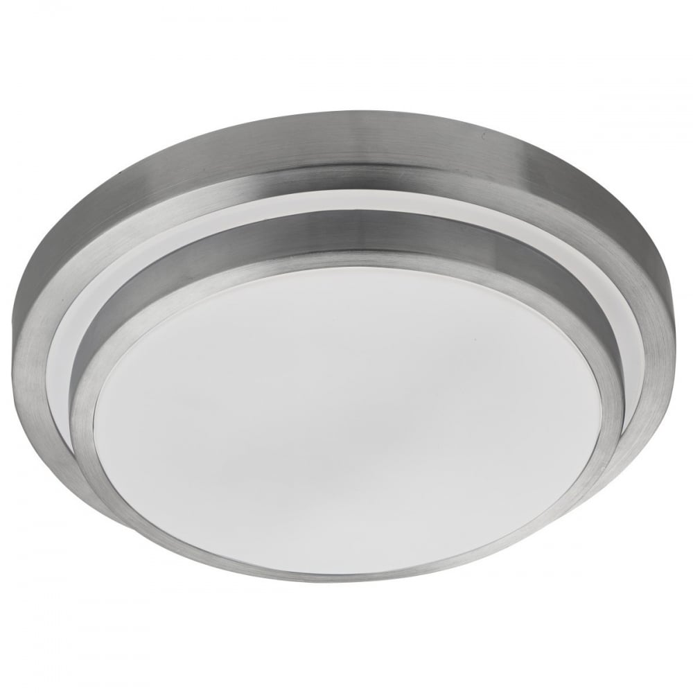 LED Flush Bathroom Ceiling Light With Aluminium Trim And White Shade