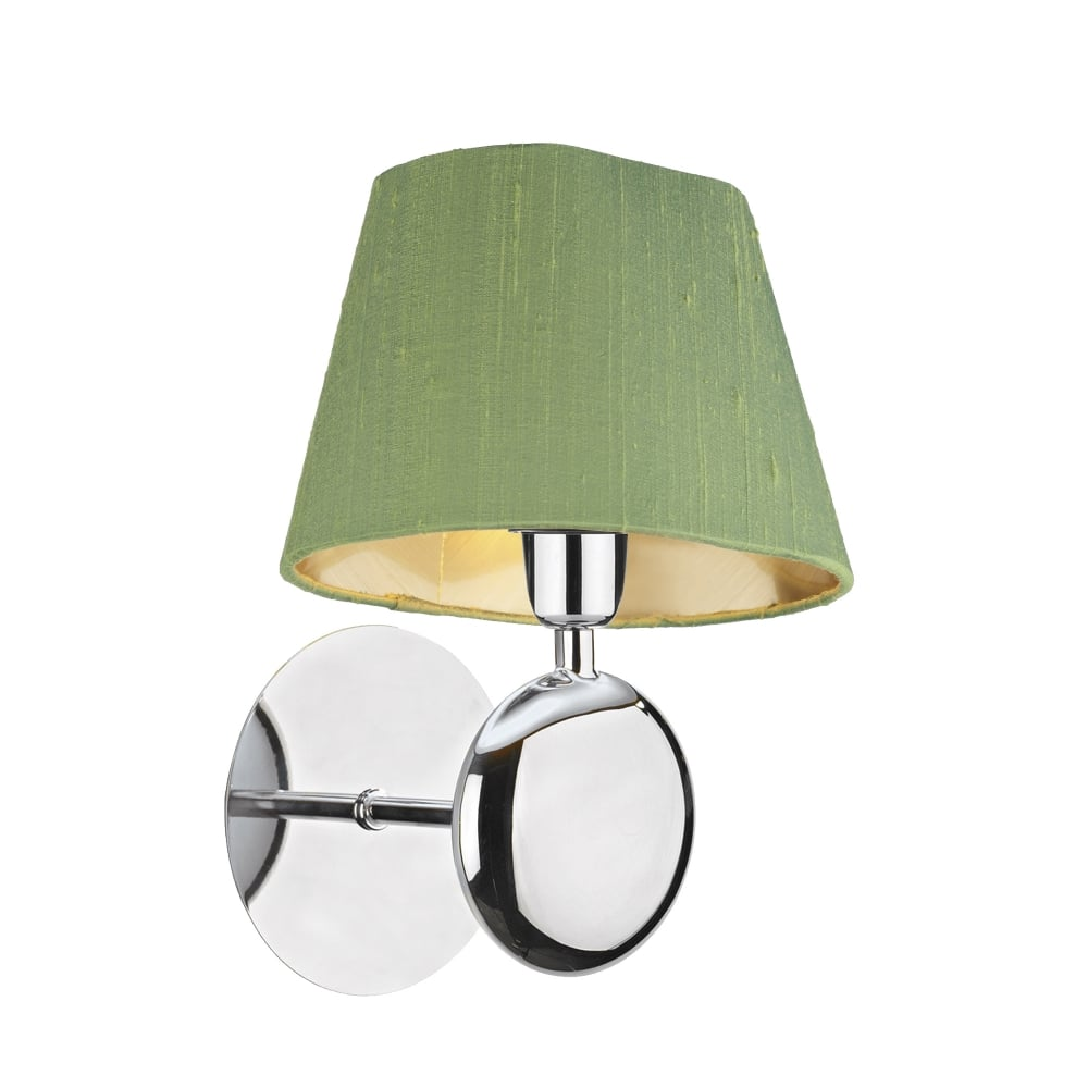 Modern Chrome Wall Light, Double Insulated, Choice of Coloured Silk ...