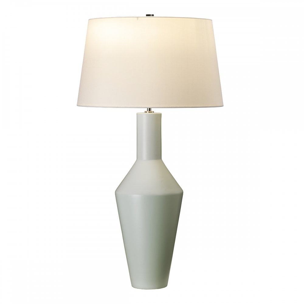 Ceramic Vase Table Lamp In Sage Green With Shade