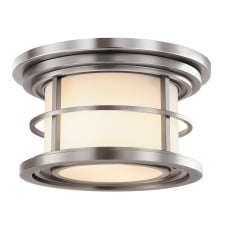industrial nautical style flush exterior light in brushed steel